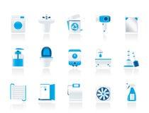 Badkamers en toiletvoorwerpen en pictogrammen Stock Foto