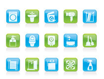 Badkamers en toiletvoorwerpen en pictogrammen Stock Fotografie