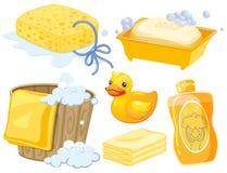 Badkamers in gele kleur wordt geplaatst die Royalty-vrije Stock Afbeelding