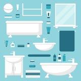 Badkamers Geplaatste badkamerselementen badkamersmeubilair op achtergrond Stock Foto