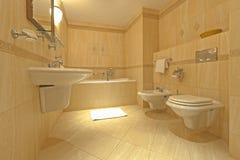 Badkamers met bidet en WC Stock Afbeelding