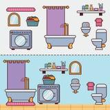 Badkamers met meubilair in vlakke stijl Stock Foto's