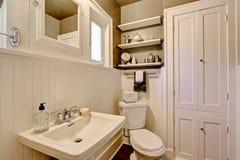 Badkamers met plank met panelen beklede muur Royalty-vrije Stock Fotografie