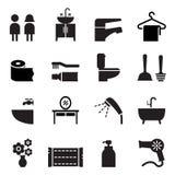 Badkamers, Toilet, de vastgestelde Vector van het Toiletpictogram Royalty-vrije Stock Foto