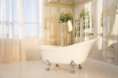 Badkamersbinnenland met free-standing badkuip Royalty-vrije Stock Foto