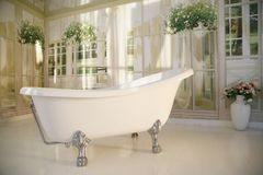 Badkamersbinnenland met free-standing badkuip Stock Fotografie
