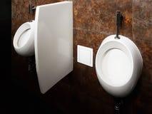 Badkamersbinnenland in zwart-wit Ovaal ceramisch urinoir Spiegels, plastic zeepschotel en chroomtapkranen voor washanden na a stock foto's