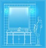 Badkamersblauwdruk stock foto's