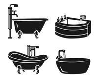 Badkarsymbolsuppsättning, enkel stil stock illustrationer