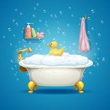 badkuip met bellen vector illustratie