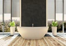 Badkuip in moderne heldere badkamers vector illustratie