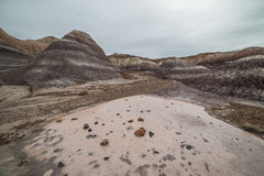 Badland Formations, Petrified Wood, and Bentonite Clay Near Blue Mesa Trail in Petrified Forest National Park, Arizona. Petrified Forest National Park is a Royalty Free Stock Images