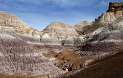Badland landscape,. Petrified forest, New mexico Royalty Free Stock Images