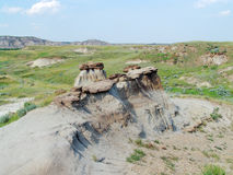 Badland terrain in alberta. The badland terrain at provincial dinosaur park (many dinosaur fossils have been found in this area), alberta, canada Royalty Free Stock Images