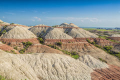 Badlands με τους κόκκινους ριγωτούς λόφους Στοκ Εικόνες