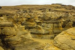 The badlands in all their splendour. Writing on Stone Provincial Park, Alberta, Canada Stock Photography