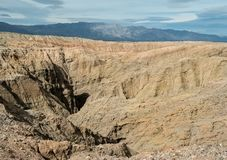 The Badlands, Anza Borrego State Park. Overlooking a slot canyon in the Anza Borrego badlands in southern California stock photos