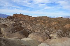 Badlands of the Death Valley National Park seen from Zabriskie Point royalty free stock photography