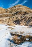 Badlands dichtbij Drumheller, Alberta zijn beroemd voor rijke deposi stock foto's