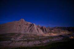 Badlands en la noche imagen de archivo