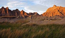 Badlands en la puesta del sol foto de archivo libre de regalías