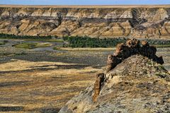 Badlands Formation and River Stock Images