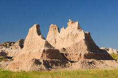 Badlands formation in the summer heat. A mudstone escarpment in Badlands national Park in South Dakota Royalty Free Stock Images