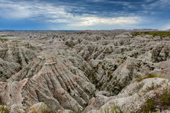 Badlands Geological Landscape. With hills and cloudy sky in the Badlands of South Dakota stock photography