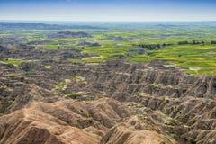 Badlands landscape amid grasslands Royalty Free Stock Photography
