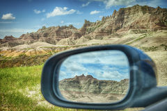 Badlands Mountains In Rear-View Mirror Stock Photography