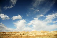 Badlands national park. Desert landscape against bright blue sky Royalty Free Stock Images