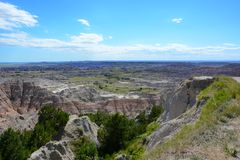 Badlands National Park Landscape. Badlands National Park. The parks 244,000 acres protect an expanse of mixed-grass prairie that support bison, bighorn sheep Stock Photo