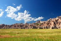Badlands National Park Prairie. Windswept prairies below jagged mountains in Badands National Park of South Dakota Royalty Free Stock Photo