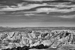Badlands nationalpark, svartvita South Dakota - Arkivfoton