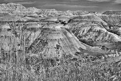 Badlands nationalpark, svartvita South Dakota - Royaltyfri Fotografi