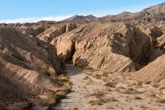 Badlands near Borrego Springs in California desert. Badlands near Borrego Springs city in the Anza Borrego Desert State park in California stock photo