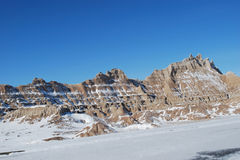 The Badlands in November. The Badlands covered with snow in November Stock Images