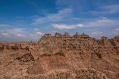 Badlands park narodowy - krajobraz obszary trawiaści i żlobić rockowe formacje zdjęcia royalty free