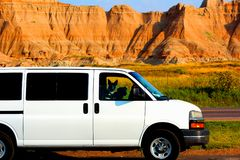 Badlands parka narodowego niewygładzony krajobrazowy vanlife obraz royalty free