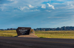 Badlands parka narodowego znak Fotografia Royalty Free