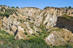 Badlands. Rocca Imperiale. Calabria. Italy. Stock Image