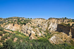 Badlands. Rocca Imperiale. Calabria. Italy. Royalty Free Stock Photo