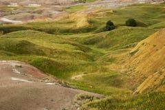 Badlands Rolling Hills av och gula kullar South Dakota royaltyfri foto