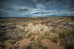 Badlands rond Angel Peak dichtbij Bloomfield in New Mexico wordt gevestigd dat Stock Foto's