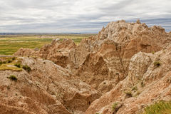 Badlands of South Dakota. A section of the Badlands on an overcast day Royalty Free Stock Images