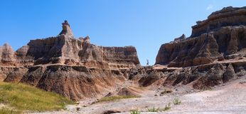 Badlands, South Dakota. The badlands are fascinating from both a geologic perspective as well as natural history stock photo