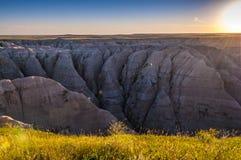 Badlands South Dakota på soluppgång arkivbild