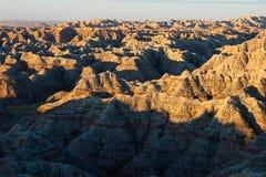 Badlands, south dakota. Sunrise Stock Image