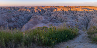 Badlands South Dakota at Sunrise Stock Photo