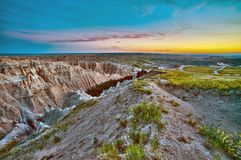 Badlands Sunset HDR Royalty Free Stock Image